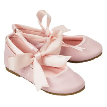 Pink Ballet Flats Girls Dress Shoes with Grosgrain Ribbon