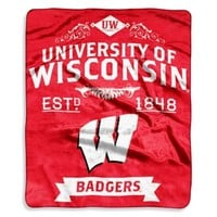 Wisconsin Badgers Raschel Throw