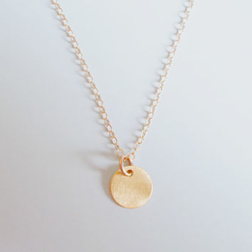 Initial disc necklace, gold initial necklace, dainty initial necklace, personalized necklace
