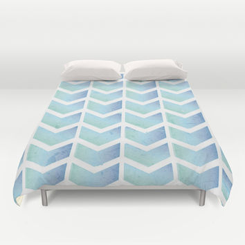 Sea Blue Chevron Duvet Cover by NisseDesigns