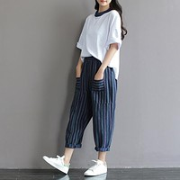 SCUWLINEN Trousers for Women 2017 Classic Striped Patchwork Casual Linen Pant Loose Long Harem Pants Pantalones Mujer S224