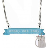 Punky Pins Crazy Cat Lady Necklace | Attitude Clothing