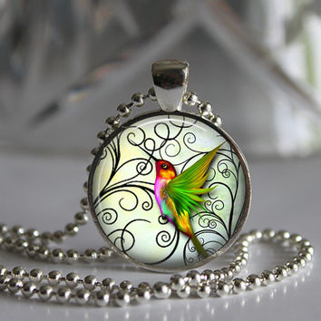 Green Wings Humming Birds  Round Glass Pendant Necklace