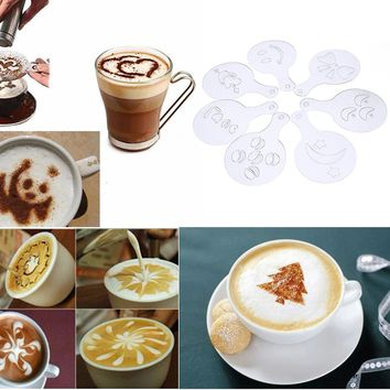 16 Pcs Art Coffee Print Mold Barista Stencils Template Strew  Pad Duster Spray Latte Art Coffee Shop Tools