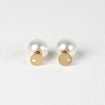 Cutout Circle And Pearl Double Sided Earrings