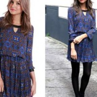 Blue Ikat Print Long Sleeve Dress