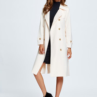 Beige Lapel Double Breasted Side Split Belted Trench Coat