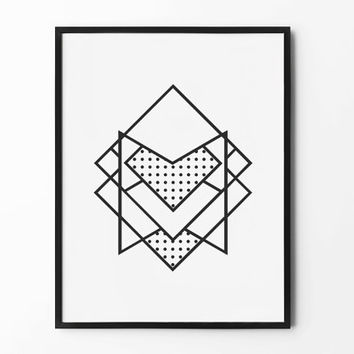 Geometric Print, Abstract Wall Art, Black and White, Wall Decor, Square Poster, Scandinavian, Minimalist, Nursery Wall Art