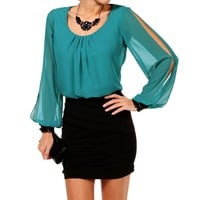 Black/Teal Colorblock Dress