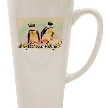 Magellanic Penguin Text 16 Ounce Conical Latte Coffee Mug