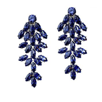 CZ by Kenneth Jay Lane - Blue Sapphire Marquise Waterfall Clip Earring