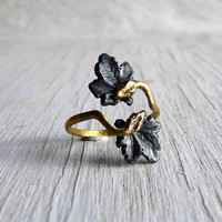 Double Snake Ring Ouroboros Adjustable Onyx Silver and Golden Bronze