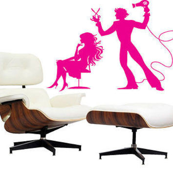 Scissors Wall Decal Hair Salon Decor Comb Fashion  Wall Decal Sticker tr202