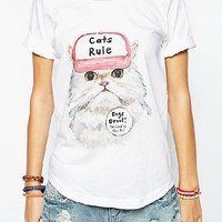 White Kitty Print T-shirt