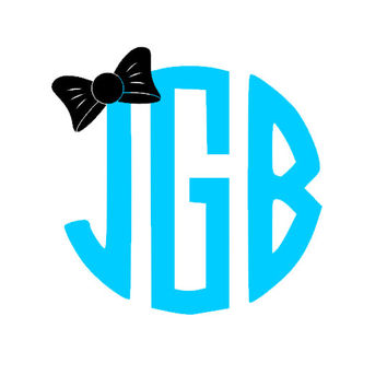 Personalized Circular Monogram Car Decal with Bow
