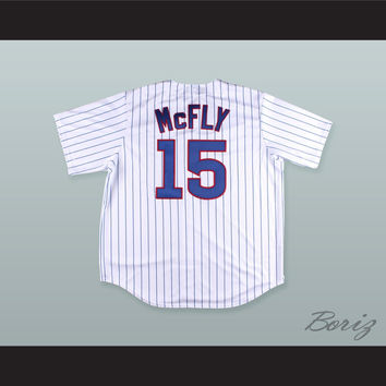 Marty McFly 15 Pinstriped Baseball Jersey Back to the Future II Prediction