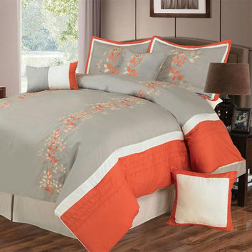 Lavish Home Branches 7 Piece Embroidered Comforter Set - Q