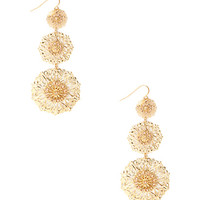 FOREVER 21 Tiered Filigree Drop Earrings Gold/Peach One