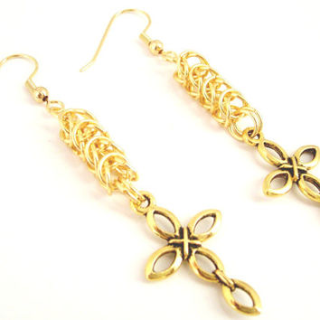 Gold Cross Byzantine Earrings, Byzantine Jewelry, Cross Earrings, Gold Cross Charm, Cross Jewelry, Christian Earrings, Chainmaille Jewelry