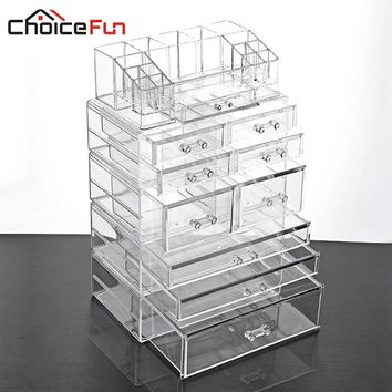 CHOICE FUN Large 9 Drawer Plastic Desktop Makeup Casket Box Storage Of Clear Big Acrylic Makeup Cosmetic Organizer For Cosmetic