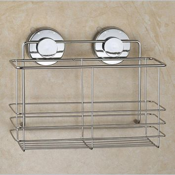 Stainless Steel Strong Suction Shower Basket Dual Sucker Bathroom Shelf Washing Room Kitchen Bathroom Corner Basket Wall Mounted