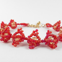 Pink Yellow Bracelet Glass Bead And Crystal Jewelry Coral Look Beadwork Beaded Jewellery Gift For Her
