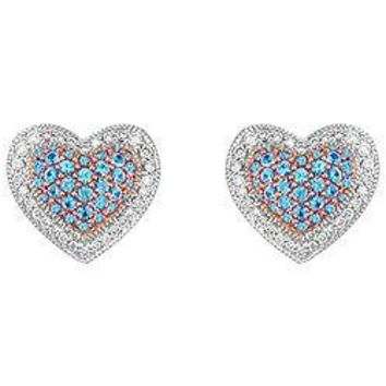 Blue Topaz and Diamond Heart Earrings : 14K White Gold - 1.50 CT TGW