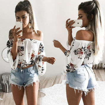 x1love  Fashion Casual Flower Print Off Shoulder Long Sleeve T-shirt Tops