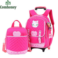 Kids Trolley School Bags for Girls Hello Kitty Suitcase on Wheels Cartoon Waterproof Children School Backpack Girls Schoolbags