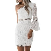 FEITONG Sexy Lace One-Shoulder Summer Dress Women Solid Pencil Cocktail Party Pencil Short Midi Dresses 2018 Elegant Dress 0120