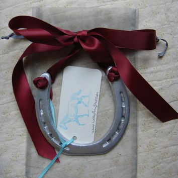 Decorated Silver Horseshoe, Satin Cranberry Ribbon, Custom Gift Tag-Housewarming Gift, equestrian decor, horseshoe decor, horse shoe art