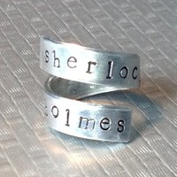 SHERLOCK HOLMES - Adjustable Twist Wrap Aluminum Ring - handed stamped