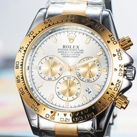 Rolex 2019 new men and women models three-eye waterproof quartz watch #3