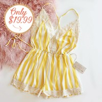 Citrus Romper in Lemon