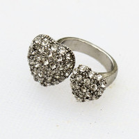 Silver Wrap Around Pave Heart Costume Ring- Vintage, 1980s