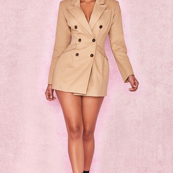 Clothing : Structured Dresses : 'Elexis' Camel Tailored Blazer Dress