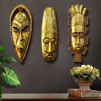 Resin Retro Painting Portrait Sculpture Mask Africa Style Hanging Wall Decoration Statue As Bar Club Home Decoration Accessories