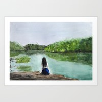 girl and nature  Art Print by Color and Color