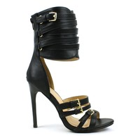 Fahrenheit Joan-01 Ankle-Cuff High Heel Sandal in Black @ ippolitan.com