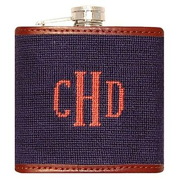 Custom Fancy Monogram Needlepoint Flask in Dark Navy with Melon Letters by Smathers & Branson