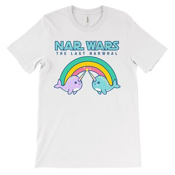 (Unisex BC 3001 Soft Tee - Light Colors) Cute Rainbow Nar Wars The Last Narwhal
