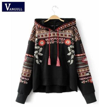 Embroidery hooded sweatshirt vintage totem geometric oversized sequined long sleeve pullover casual tops sudaderas Hoodies