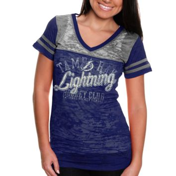 Touch by Alyssa Milano Tampa Bay Lightning Women's Coop 2 Premium T-Shirt - Navy Blue/Silver