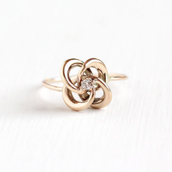 Antique 10k Rose Gold Diamond Victorian Love Knot Ring - Late 1800s Fine Stick Pin Conversion Jewelry, Everlasting Love & Friendship