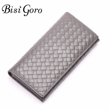 Bisi Goro 2017 Multifunctional Purse Cowhide Leather Women Wallet  Knitting Long Thin Purse Multiple Cards Holder Clutch Bag