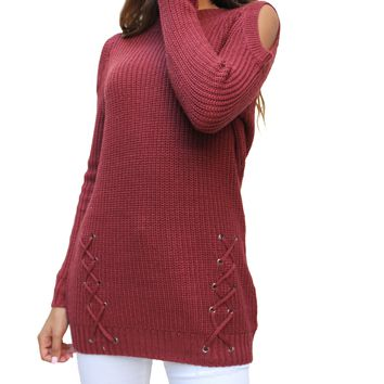 SW26250 Open Shoulder Lace Up Sweater (More Color Options)