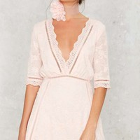 Eden Embroidered Mini Dress - Blush