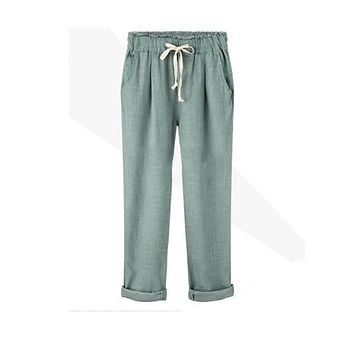 New Girl Pants Women's Cotton Linen Elastic Waist Trousers High Quality Casual Loose Clothing for Female Large Size Harem Pants