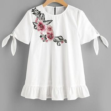 Flower Patch White Tops Tie Sleeve Sweet Tunic Blouse Women Embroidery Tops Ruffle Casual Frill Hem Blouse