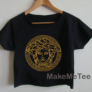 New VERSACE Medusa Gold Crop top Tank Top Women Black and White Tee Shirt - MM5
